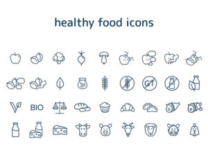 minimal design food icons vector