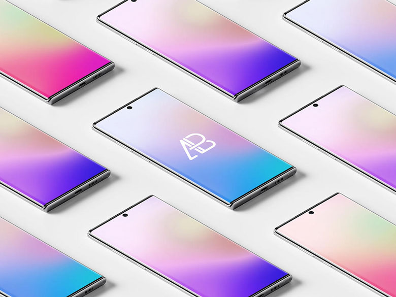 Isometric Galaxy Note 10 PSD Mockup Templates