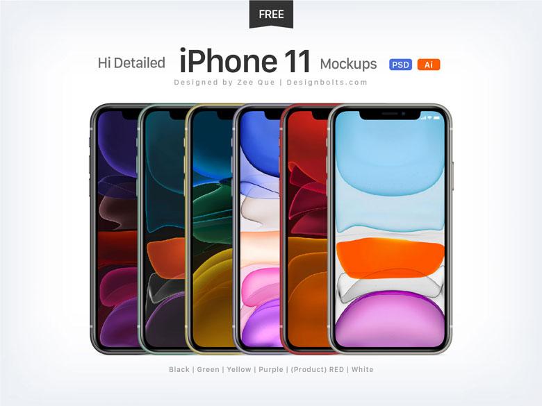 free iPhone 11 psd mockup