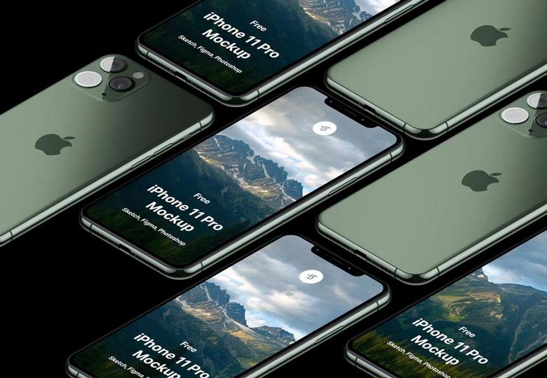 free iPhone 11 isometric mockup