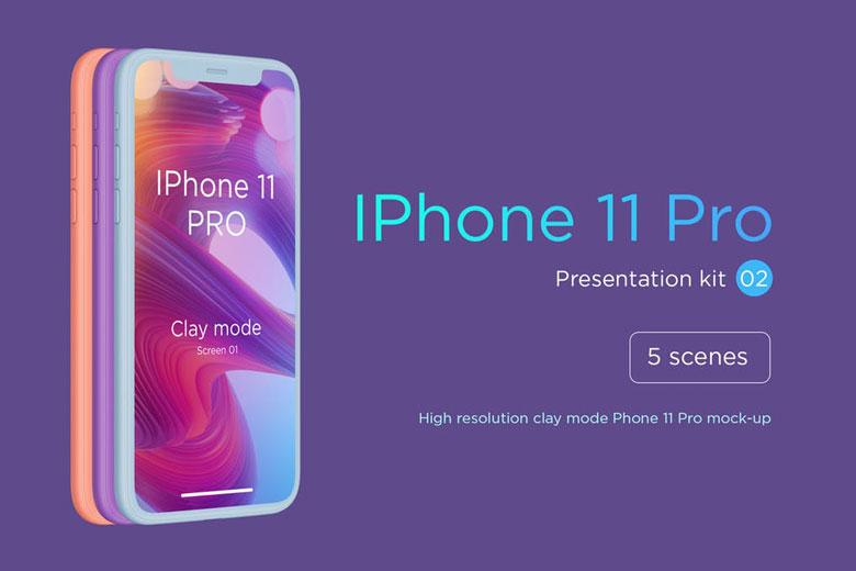 iPhone 11 Pro Clay Mockup PSD