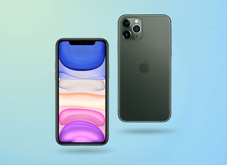 Free iPhone 11 Pro Max Mockup Front and Back PSD
