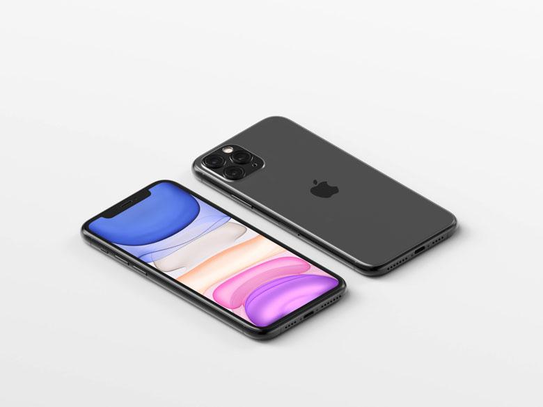 Isometric iPhone 11 Pro Max Mockup PSD