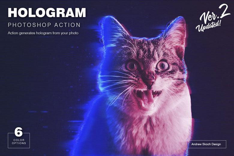 Hologram Effect Photoshop Action